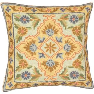 eCarpetGallery Kashmir Hand-made Beige/Blue Wool Needlepoint Cushion Cover (1'4 x 1'4)