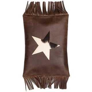 eCarpetGallery Brown Leather Hand-made Casual Cushion Cover (1' x 1'4)