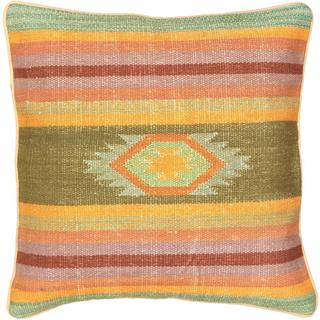 eCarpetGallery Ottoman Handmade Green Wool Kilim Cushion Cover (1'5 x 1'5)