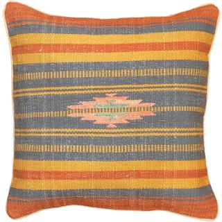 eCarpetGallery Ottoman Hand-madeBlue/Brown Wool Kilim Cushion Cover (1'5 x 1'5)