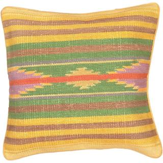 eCarpetGallery Ottoman Kilim Green and Yellow Wool Hand-made Cushion Cover (1'5 x 1'5)