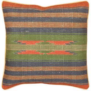 eCarpetGallery Kilim Brown/Green Wool Handmade Ottoman Cushion Cover (1'5 x 1'5)