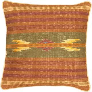eCarpetGallery Ottoman Hand-made Brown/Green Wool Kilim Cushion Cover (1'5 x 1'5)