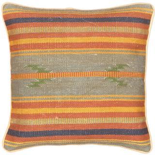 eCarpetGallery Ottoman Kilim Blue Wool 17-inch Square Handmade Cushion Cover