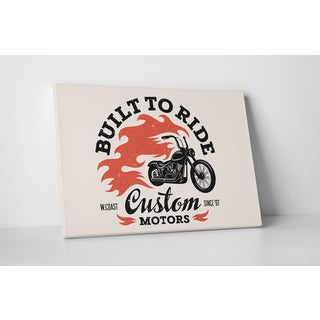 Motorcycle Pop Art 'Built to Ride' Gallery Wrapped Canvas Wall Art