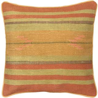 eCarpetGallery Ottoman Hand-made Brown/Pink Wool Kilim Cushion Cover (1'5 x 1'5)
