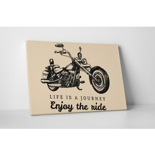 Motorcycle Pop Art 'Enjoy the Ride' Gallery Wrapped Canvas Wall Art