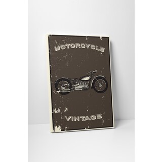 Motorcycle Pop Art 'Vintage Mortorcycle' Gallery Wrapped Canvas Wall Art