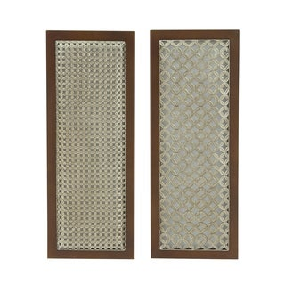 Brown Wood and Metal 12x31-inch Wall Hangings (Set of 2)