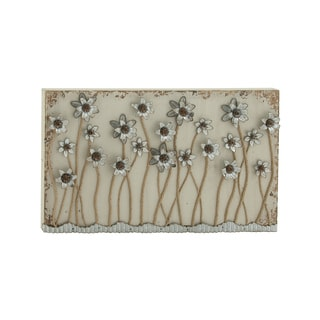 Blossoming Wood and Metal 46-inch W by 28-inch H Wall Plaque