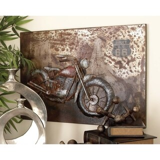 Industrial 20 x 28 Inch Iron Motorcycle Wall Decor by Studio 350