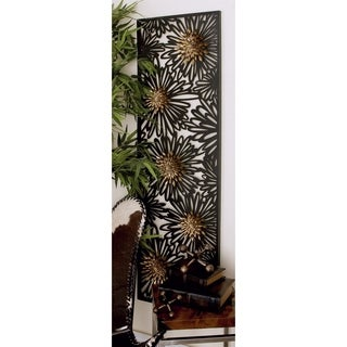 Brown and Black Metal Floral Wall Plaque