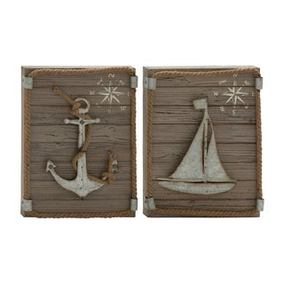Marine-themed Wood and Metal 2-piece Wall Decor Set