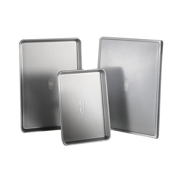 Usa Pan Bakeware Stainless Steel 3 Piece Cookie Sheet Pack
