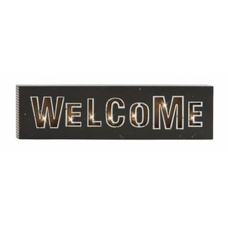 Attractive 28-inches Wide x 8-inches High Wood LED Wall Welcome Sign