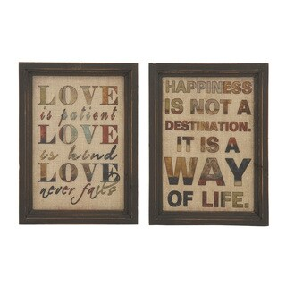 Quoted Wooden Glass Set of 2 12-inch W by 16-inch H Wall Decorations
