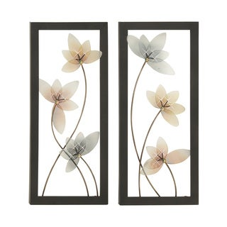 Floral-themed Metal LED Set of 2 Wall Deco Art