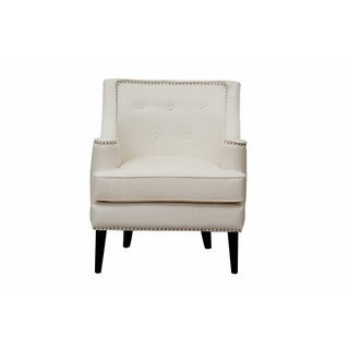 Chic Home Grace Button Tufted With Nailhead Trim Leather Accent Chair