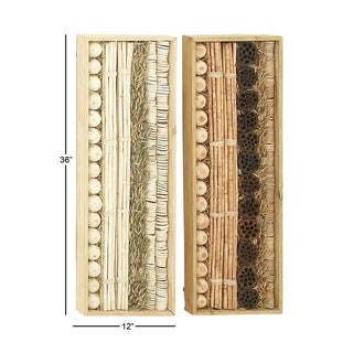 Wood and Dried Foliage Set of 2 Wall Deco Hanging