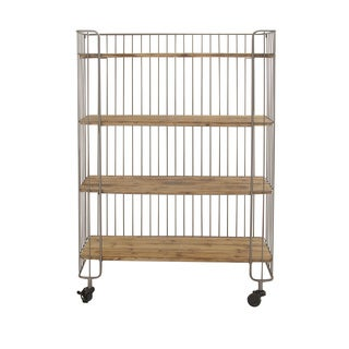 Modern Metal and Wood 48-inch x 16-inch x 65-inch Storage Shelf