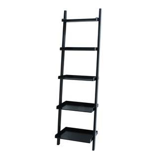 Benzara Black Wood 20-inch x 14-inch x 69-inch Compact Leaning Shelf