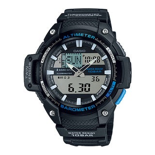 Casio Men's Twin Sensor Analog-Digital Black Watch - Silver