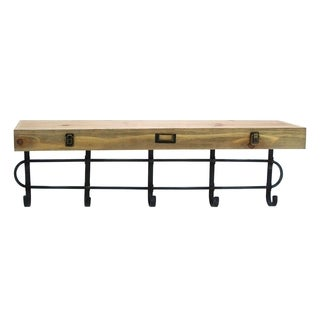 Multiple Usage Metal Wood 34-inch x 8-inch x 11-inch Wall Shelf