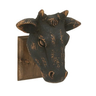 Artistically Crafted Wood Cow Head Wall Art