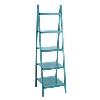 Blue Wood 21-inch x 19-inch x 65-inch Leaning Shelf