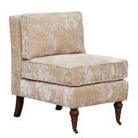 Chic Home Gandhi Beige, Blue Grey Velvet, Oak Armless Accent Chair