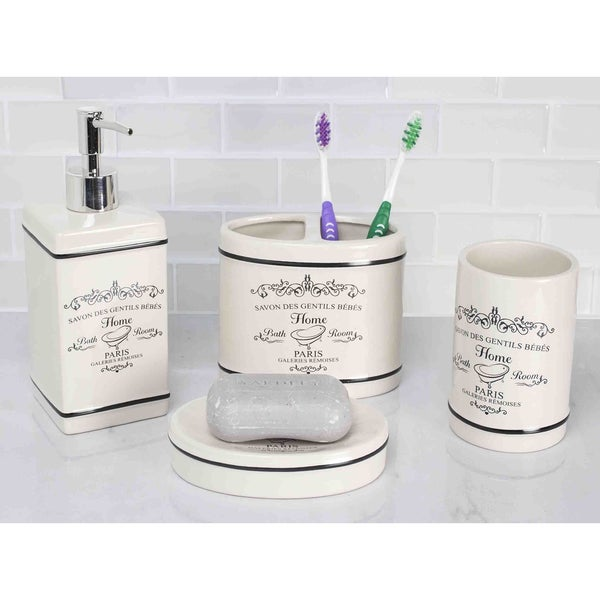 Home basics paris off white ceramic 4 piece bathroom for White bathroom accessories set