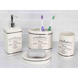Merveilleux Home Basics Paris Off White Ceramic 4 Piece Bathroom Accessory Set