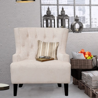 Chic Home Hemingway Teal and Taupe Velvet with Solid Oak Legs Button-tufted Accent Chair
