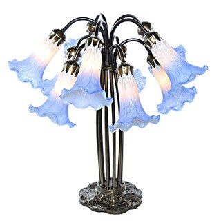 River Of Goods Blue/White Glass/Metal 21-inch Handpainted 10-lily Downlight Table Lamp