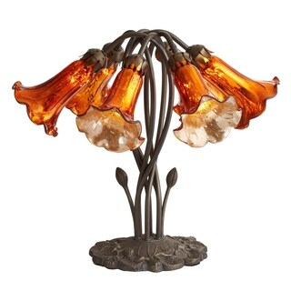 River Of Goods Burnt Orange Mercury Glass 16.75-inch 6 Lily Downlight Accent Lamp
