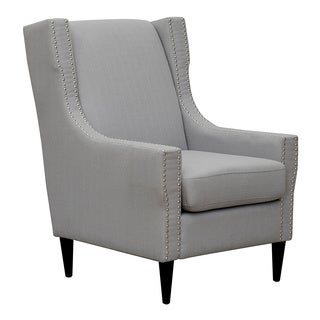 Iconic Home Freud Linen Silver Nailhead Trim Solid Oak Legs Accent Chair