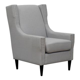 Chic Home Freud Linen Silver Nailhead Trim Solid Oak Legs Accent Chair