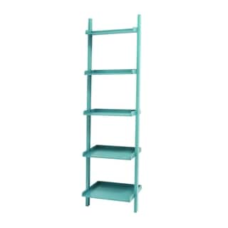 Blue 69-inch Wooden Leaning Shelf