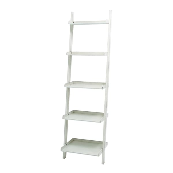 Benzara White Finish Wood Leaning Shelf