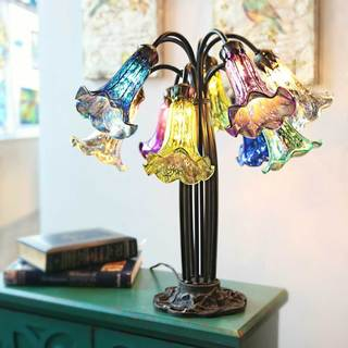 River Of Goods Tiffany-style Multi-colored 21-inch 10 Arm Lily Downlight Table Lamp