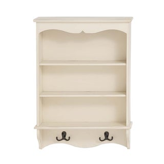 White Wood Wall Shelf with 2 Hooks