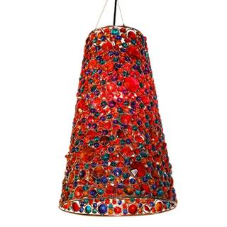 River Of Goods Multicolored Glass and Metal 19.5-inch Jeweled Cone-shaped Hanging Lamp