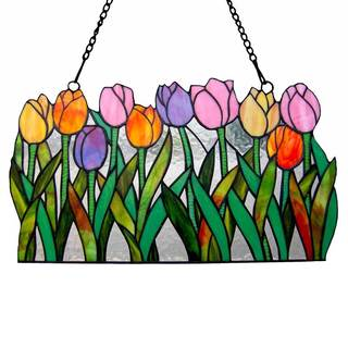 Tulip Treasure Tiffany-style 11-inch-high Stained-glass Panel