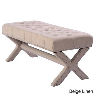 Chic Home Neil Button Tufted with Silver Nailhead Trim X-Leg Tufted Bench