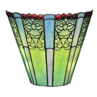River Of Goods 8.5-inch Stained Glass Tiffany-style Emerald Fleurs Wireless LED Wall Sconce