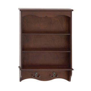 Wood 19-inch-wide Wall Storage Shelf with Hooks