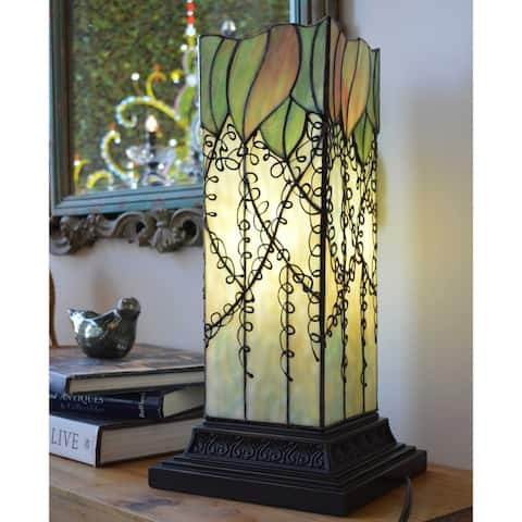"Copper Grove Carnach Multicolored Stained Glass and Resin Filigree Hurricane Lamp - 8.25""L x 8.25""W x 17.63""H"