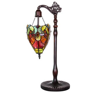Stained Glass Halston 22.75-inch Sidearm Pendant Table Lamp in Spice
