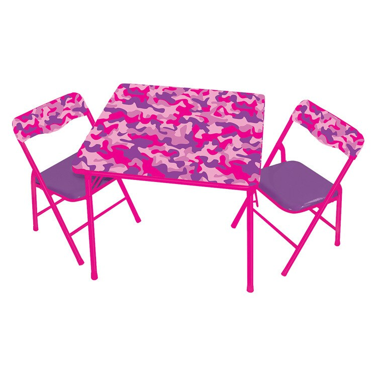 Gener8 Pink Camo Metal/Vinyl Table & Chairs (Pink Camo Ta...