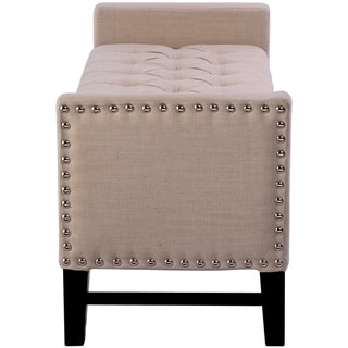 Chic Home Lance Faux Leather, Linen, or Velvet Button Tufted Trim Storage Bench